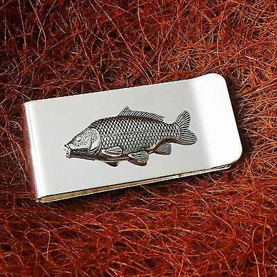 Silver Plated Money Clip with Antique Pewter Common Carp Fish Emblem