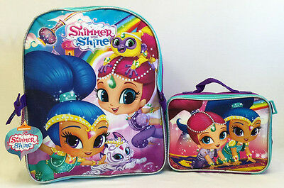 """Shimmer And Shine Large 16"""" Large Backpack with Detachable Lunch Bag School Book"""