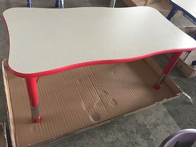 Crown Rectangle Table • Red • 6 Seater • Ideal Nursery • Adjustable Legs