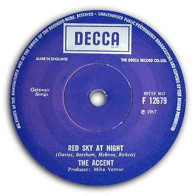 "THE ACCENT - ""Red Sky At Night""  PSYCHEDELIC TWIN SPIN FROM 67 - HEAR BOTH"