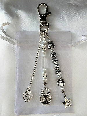 Owl Key Ring Bag Charm Valentines Mothers Day Birthday Gift Personalised