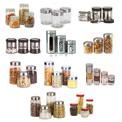 3Pc 4Pc Storage Set Coffee Tea Sugar Canister Jar Pantry Masala Pasta Snack Jars