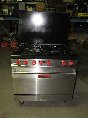 "Vulcan Commercial 36"" Range 6 Burner Gas Stove W/oven (We Ship Freight) *xlnt*"