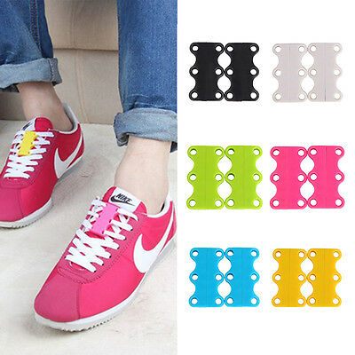 1 Pair Magnetic Shoe Lace Buckles Lazy No-Tie Lacing Closure Fasteners
