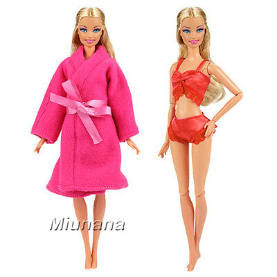 3 Pcs Fashion Sleepwear Pajama Clothes with Coat Top Underwear for Barbie Doll