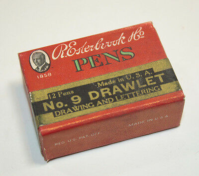 R Esterbrook Nibs Calligraphy Dip Pen Point Drawlet Lettering No.9 Full Box 12