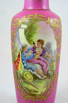 """Sevres-Style Porcelain Vase with Hand-Painted Scene signed """"Vernet"""""""
