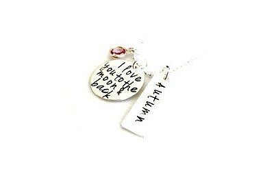 Hand Stamped Jewelry - Rectangle Name - Sterling Silver necklace - I love you to