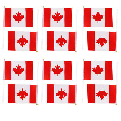 12Pcs Hand Waving Canadian Canada Flags Maple Leaf Pole Banners Olympic