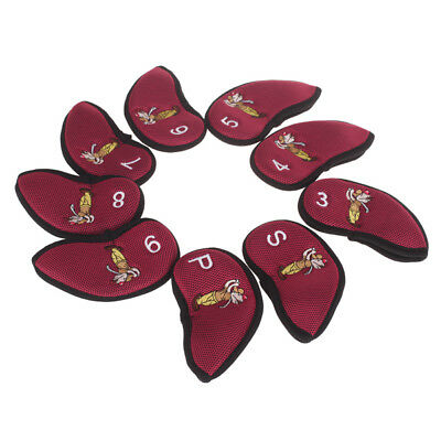 Pro 9Pcs Golf Club Iron Putter Head Covers Set Nylon Protection Case - Red