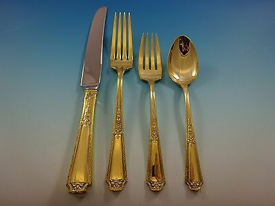 Louis XIV Gold by Towle Sterling Silver Flatware Set For 6 Service Vermeil