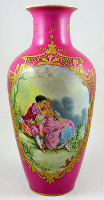 """Sevres-Style Porcelain Vase with Hand-Painted Scene signed """"Amblet"""""""