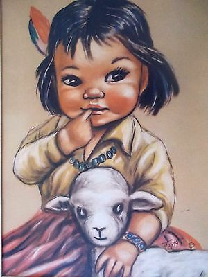 Kachina Indian child with lamb  BIG EYE litho Print