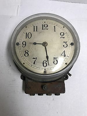 Antique Industrial Contact Making Clock Warren Clock Co For GE Type B-2 AC Motor