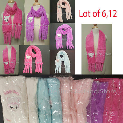 "6~12 Girl Kid Fuzzy Cozy Super Soft SCARF Faux Fur Warm Winter 62"" Wholesale Lot"