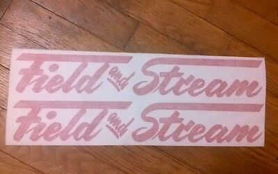 "Field & Stream Travel Trailer Red die cut Vintage Style Repro decal,16"" set / 2"