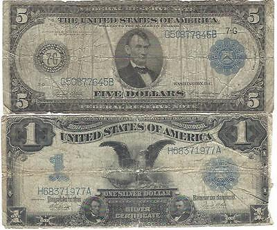 1899  Black Eagle  And 1914 Frs $5.00 You Win Two Large Notes = N R