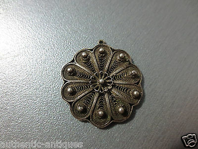 Gorgeous Antique Ottoman SILVER FILIGREE ORNAMENT Brooch 19th C. Folklore RARE