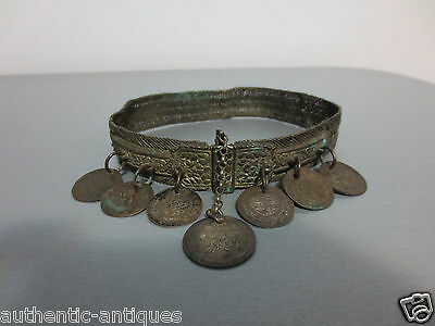 Gorgeous Antique Silver Ottoman Folklore Necklace 19th C Coins Ornament - RARE 3