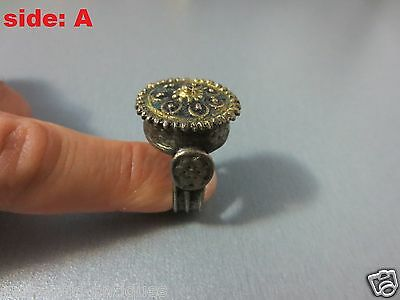 GORGEOUS ANTIQUE SILVER ALLOY GILDED ENAMEL RING 19th C. OTTOMAN EMPIRE ILAMIC