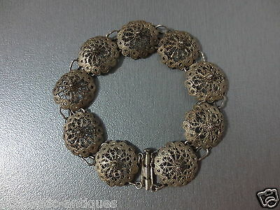ANTIQUE SILVER FILIGREE Early 20th Century OTTOMAN WOMEN'S FOLK BRACELET 9.8gram
