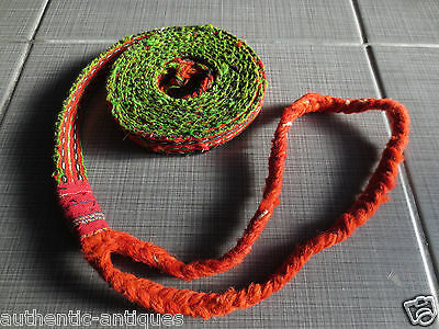 ANTIQUE OTTOMAN EMPIRE RED-LACE WOVEN FOLK ART Islamic BELT 19th Century-Rare 13
