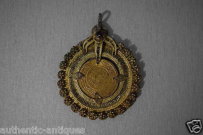 Antique 19th Century ISLAMIC GILDED FILIGREE Coin holder Ornament for NECKLACE