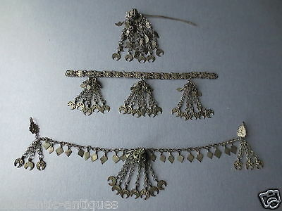 SET of 3pcs Gorgeous Antique Silver Ottoman Folklore 19th Ottoman Ornament RARE