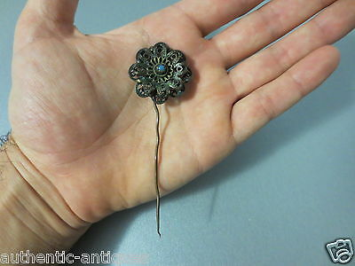 Gorgeous Antique Ottoman Folklore Hair Pin 19th C Ornament Gold-plated - RARE