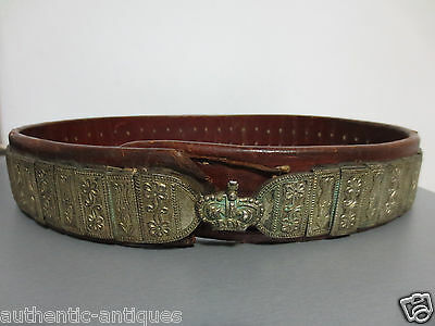 ANTIQUE OTTOMAN SILVER ALLOY GILD BELT ORIGINAL 19th Century Islamic with CROWN