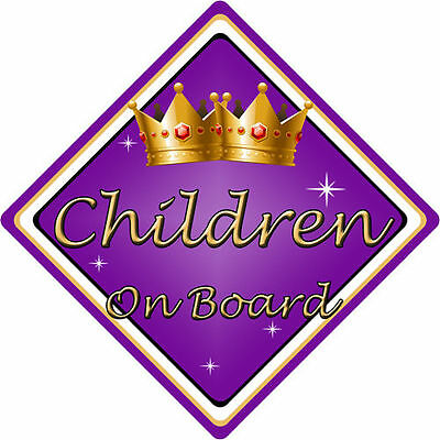 Non Personalised Child/Baby On Board Car Sign ~ Children On Board ~ Purple