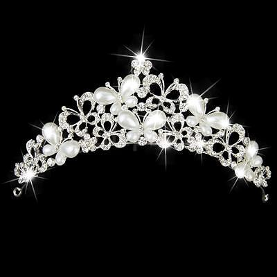 Wedding Bridal Party Pearl Crystal Diamante Butterfly Crown Tiara Headdress