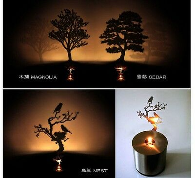 Romantic LED Shadow Pine Tree Projector Candle Timed Home Night Light Lamp Gift