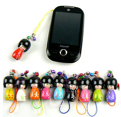 Wholesale 30pcs Handmade Cute Wooden Kokeshi Doll Phone &Handbag Charm