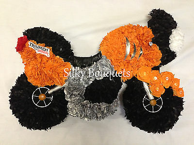 Artificial Silk Funeral Flowers Motorcycle Motorbike Wreath Remembrance Tribute