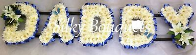 Daddy Silk Funeral Flower 5 Letter Artificial Chrysanthemum Tribute Name Wreath