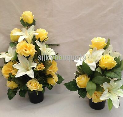 Artificial Silk Flower Grave Pot Pair Yellow Arrangement Flat Black & Round