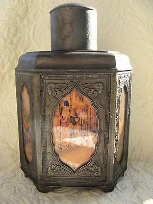 ANTIQUE CHINESE SWATOW PEWTER  TEA CADDY 19./20.th CENTURY GLASS PANELS TEEDOSE