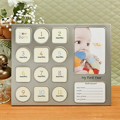 """My First Year"" Baby Collage Frame in Pewter - Gift Favors / FC-12537"