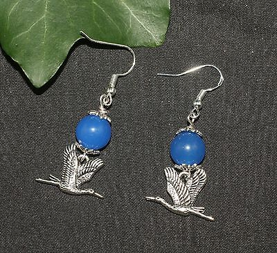 Heron & Jade Earrings - Tranquility - With Sterling Silver Earwires Pagan, Wicca