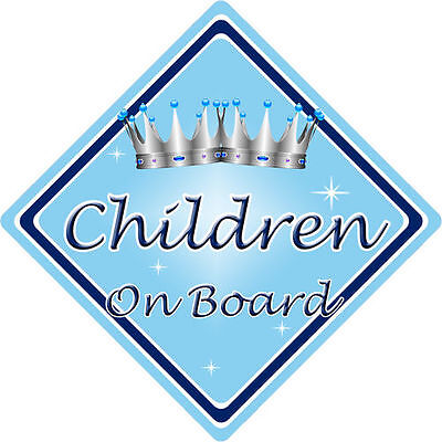 Non Personalised Child/Baby On Board Car Sign ~ Children On Board ~ L.Blue