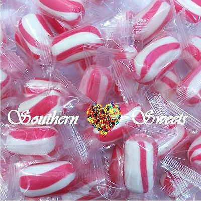 Pink & White Lollies Striped Hard Boiled Candy Wrapped 700G Approx 100Ct