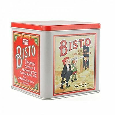 Vintage Style Retro Bisto For All Meat Dishes Advert Metal Lidded Storage Tin