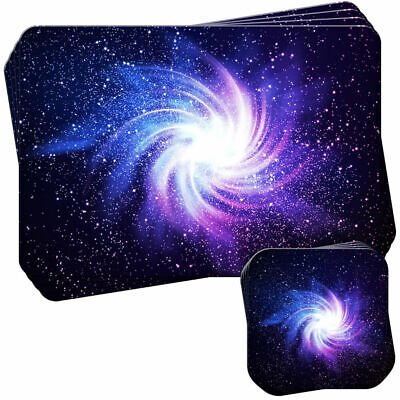 Glowing Galaxy In Black Space Set of 4 Placemats and Coasters