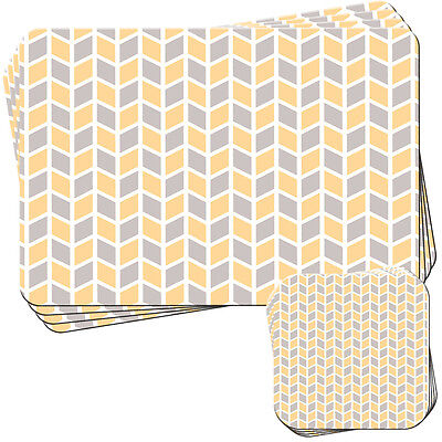 Grey Orange Modern Pattern Set of 4 Placemats and Coasters