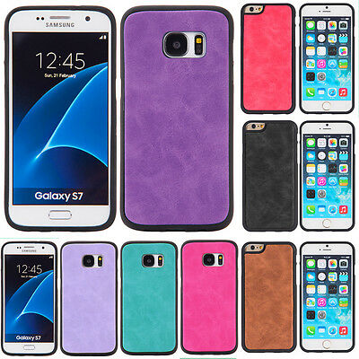 Luxury thin PU Leather Pounch Hard Back Case Cover for Apple iPhone 7 6/Samsung