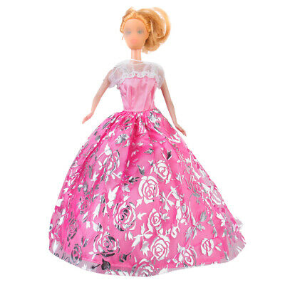 Pink Wedding Prom Evening Party Doll Lace Dress Gown Clothing for Barbie New