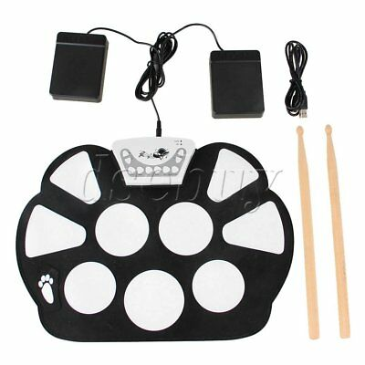 Electronic Silicon 9 Pad  Roll Up Drum Kit Record Funchion with 2 Sticks BQLZR