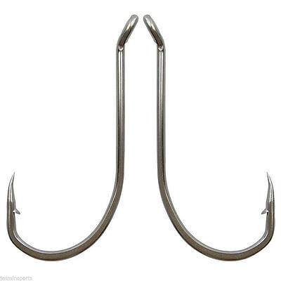 Lot 92554 Stainless Steel Fishing Hook White Offset Long Shank Octopus Fish Hook