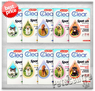 Bob Martin Flea Clear Spot on Dogs,Cats Treatment Kills Fleas, Ticks FleaClear